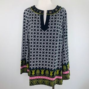 Nicole by Nicole Miller Large Tunic Studded Blouse
